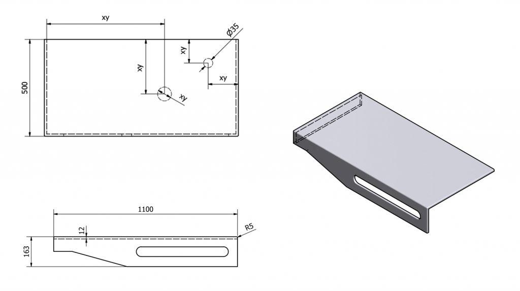 SAPHO - TAILOR+ rockstone deska 110x50 cm, límec L, držák ručníku vpravo (TRP110L)