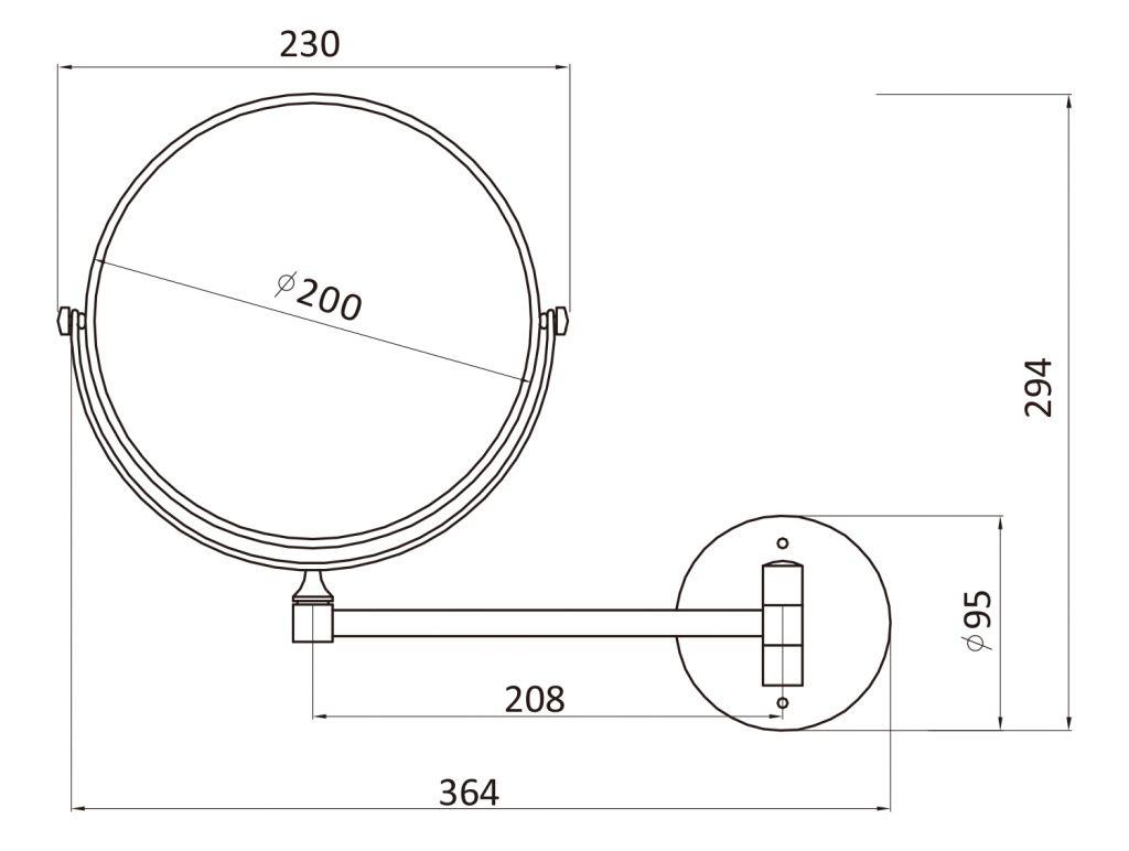 AQUALINE - Kosmetické zrcátko závěsné, průměr 200 mm, chrom (HY1408)
