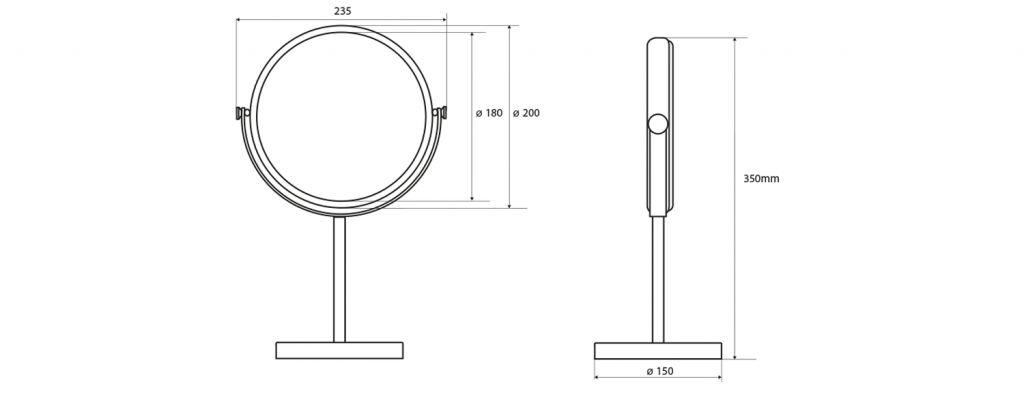 SAPHO - Kosmetické zrcátko na postavení, průměr 200mm, chrom (XP010)
