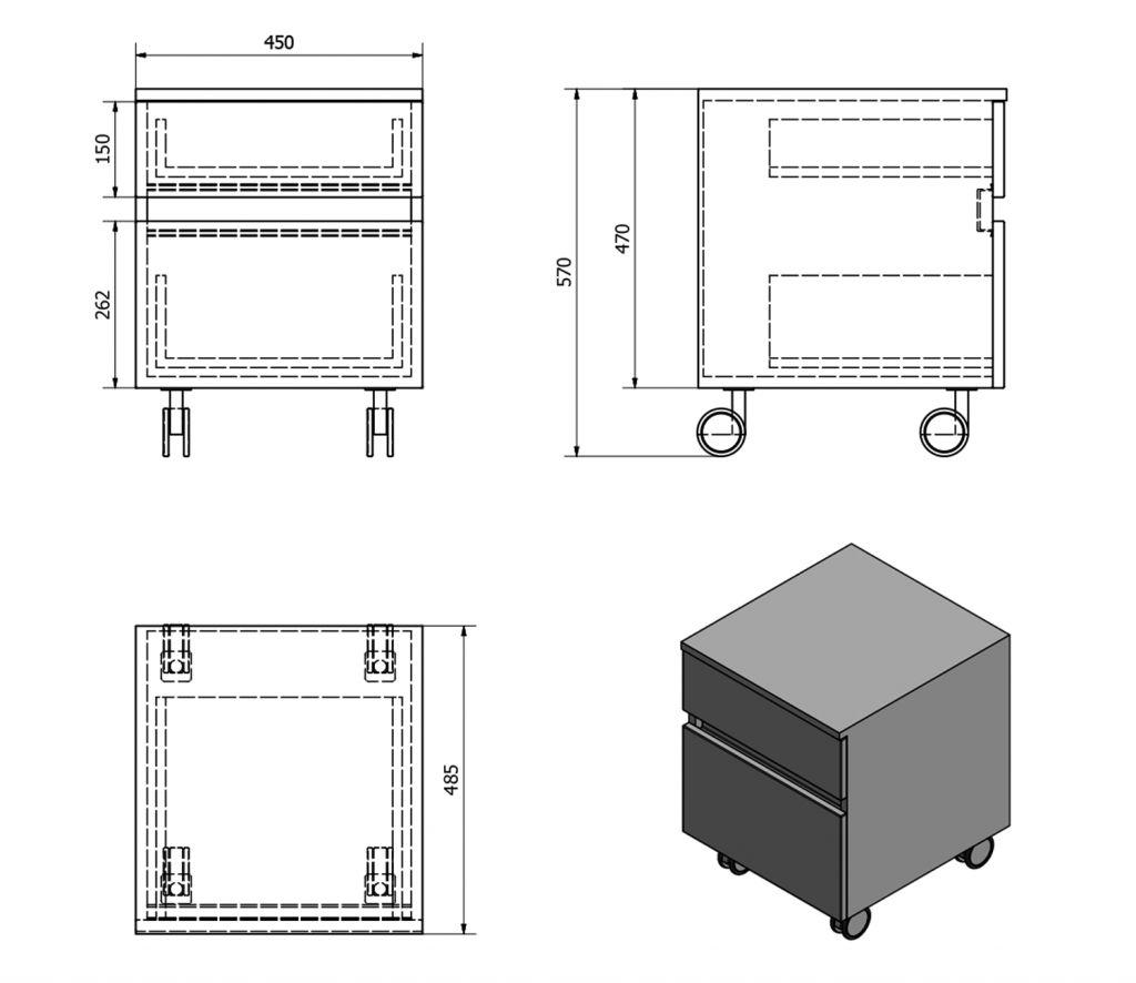 SAPHO - AVICE skříňka na kolečkách, 2x zásuvka 45x57x48,5cm, bílá (AV063) (AV063-3030)