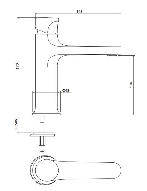 CERSANIT - Stojánková umyvadlová baterie INVERTO, páková, zlatá + zlatá páčka (S951-297)