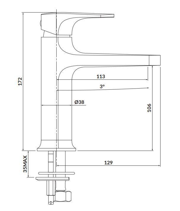 CERSANIT - Stojánková umyvadlová baterie INVERTO, páková, černá + zlatá páčka (S951-295)