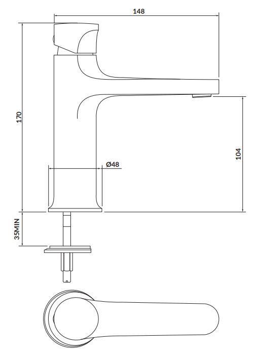 CERSANIT - Stojánková umyvadlová baterie INVERTO, páková, chrom + černá páčka (S951-300)
