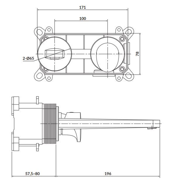 CERSANIT - Podomítková páková umyvadlová baterie INVERTO, vč. montážního tělesa, chrom + černá páčka (S951-302)