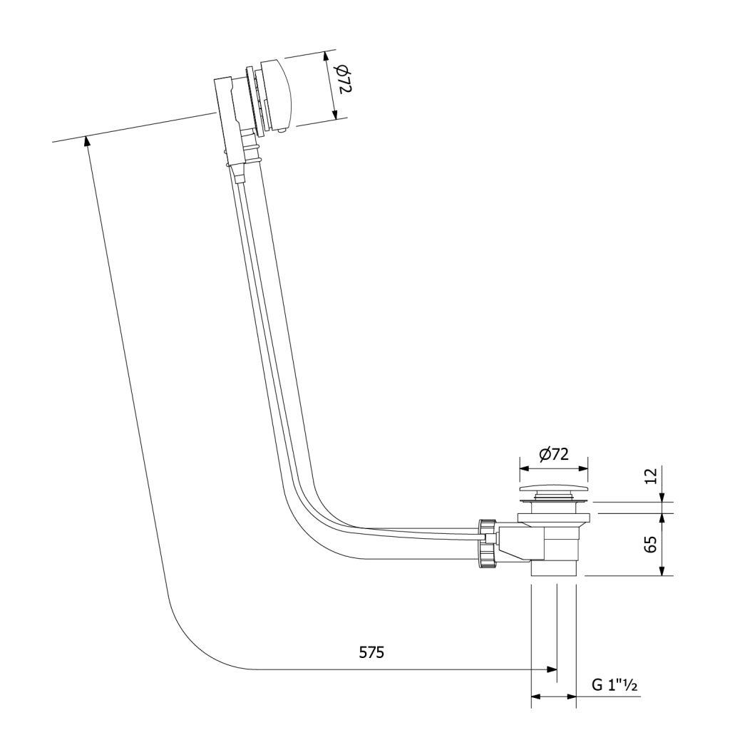 POLYSAN - Vanová souprava s bovdenem, délka 575mm, zátka 72mm, černá mat (71680B)