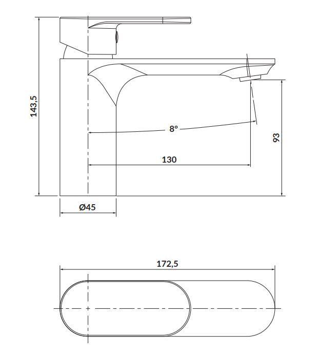 CERSANIT - Stojánková umyvadlová baterie CREA, páková, chrom (S951-328)