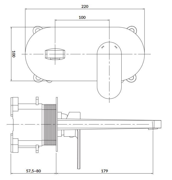 CERSANIT - Podomítková páková umyvadlová baterie CREA, včetně montážního tělesa, chrom (S951-330)