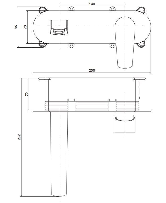 CERSANIT - Podomítková páková umyvadlová baterie MODUO, včetně montážního tělesa, chrom (S951-337)