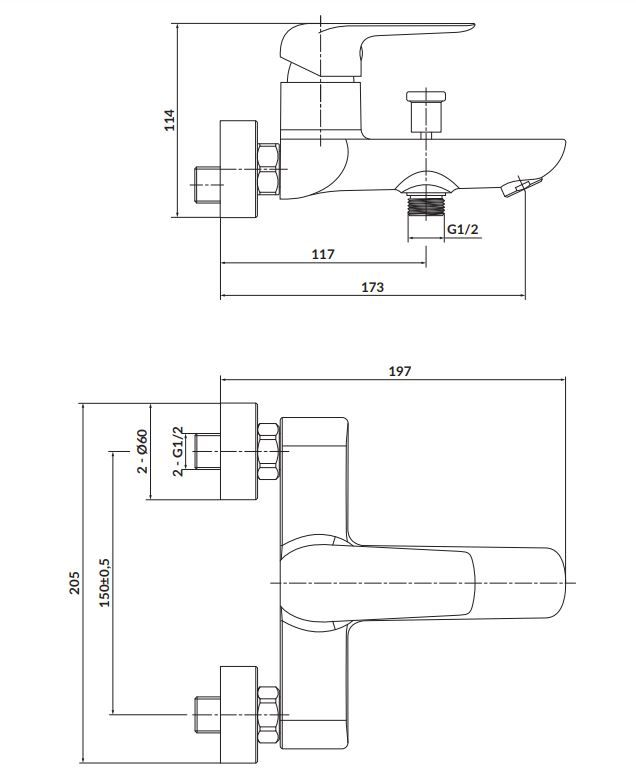 CERSANIT - Nástěnná vanová baterie CITY, páková, chrom (S951-344)