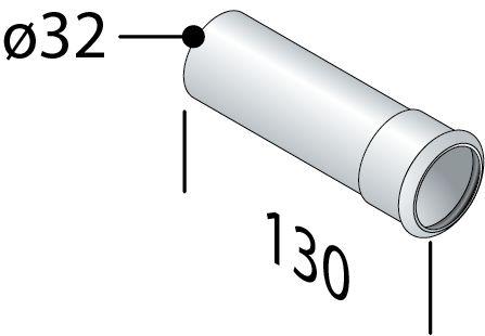 Omp Tea - Prodlužovací trubka sifonu s přírubou 32/130mm, chrom (100.130.5)