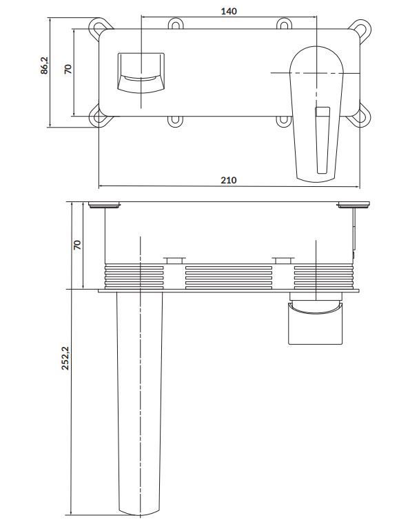 CERSANIT - Podomítková páková umyvadlová baterie MILLE, včetně montážního tělesa,s výpustí klik klak, chrom (S951-357)