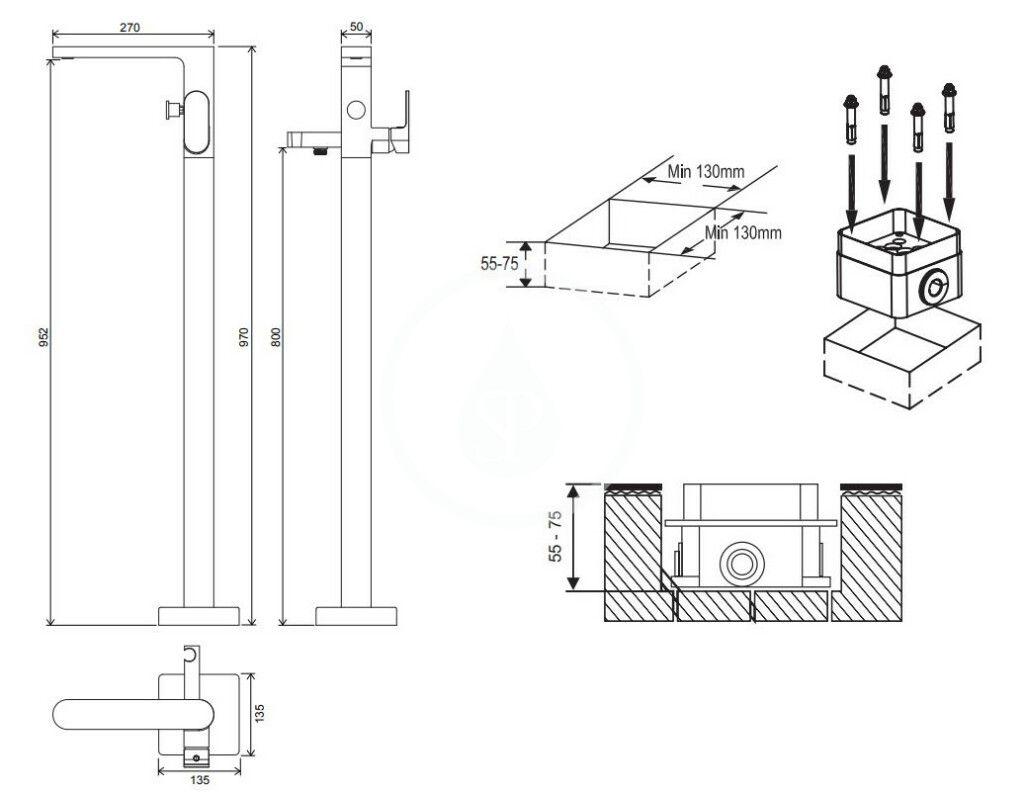 RAVAK - Chrome Vanová baterie CR 080.00 do podlahy, s tělesem, chrom (X070101)