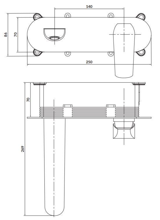 CERSANIT - Podomítková páková umyvadlová baterie CITY, včetně montážního tělesa, chrom (S951-361)