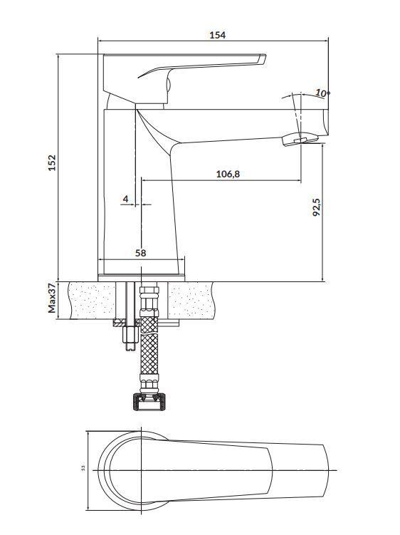 CERSANIT - Stojánková umyvadlová baterie MODUO, páková, chrom (S951-362)
