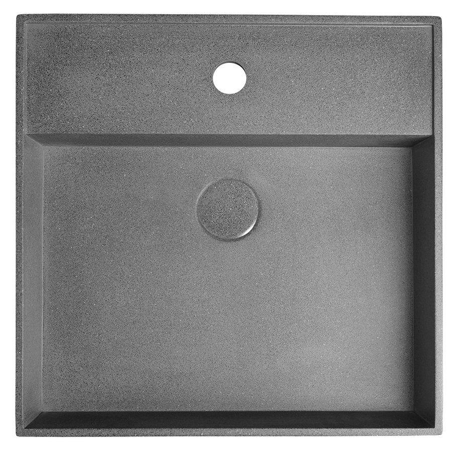 SAPHO - QUADRADO betonové umyvadlo včetně výpusti, 46x46 cm, černý granit (AR468)