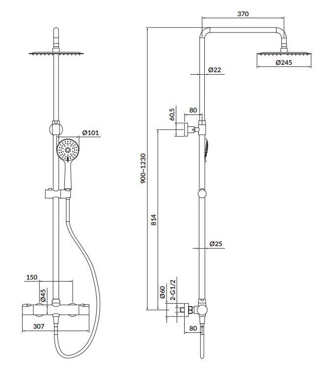 CERSANIT - Sprchový sloup s termostatickou baterií CITY, chrom (S951-340)