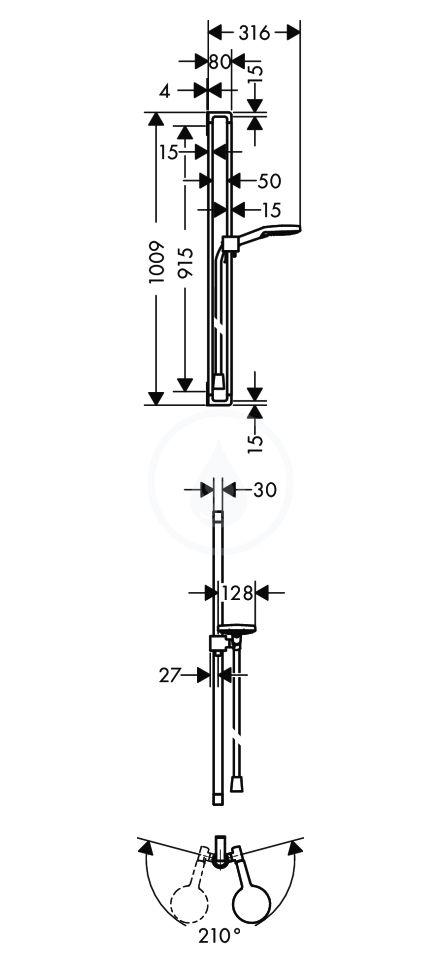 AXOR - Citterio E Set sprchové hlavice Raindance Select S 120, 3 proudy, tyče a hadice, chrom (36735000)