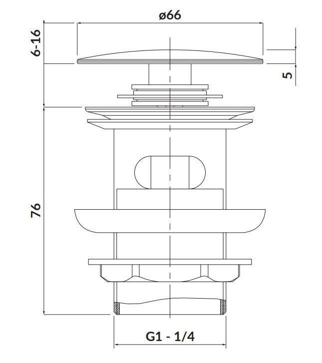 CERSANIT - Kovová zátka klik-klak pro umyvadla s přepadem, černá (S951-279)