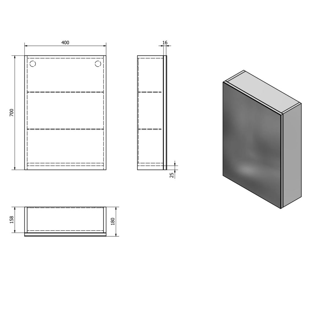 AQUALINE - VEGA galerka, 40x70x18cm, bílá (VG040)