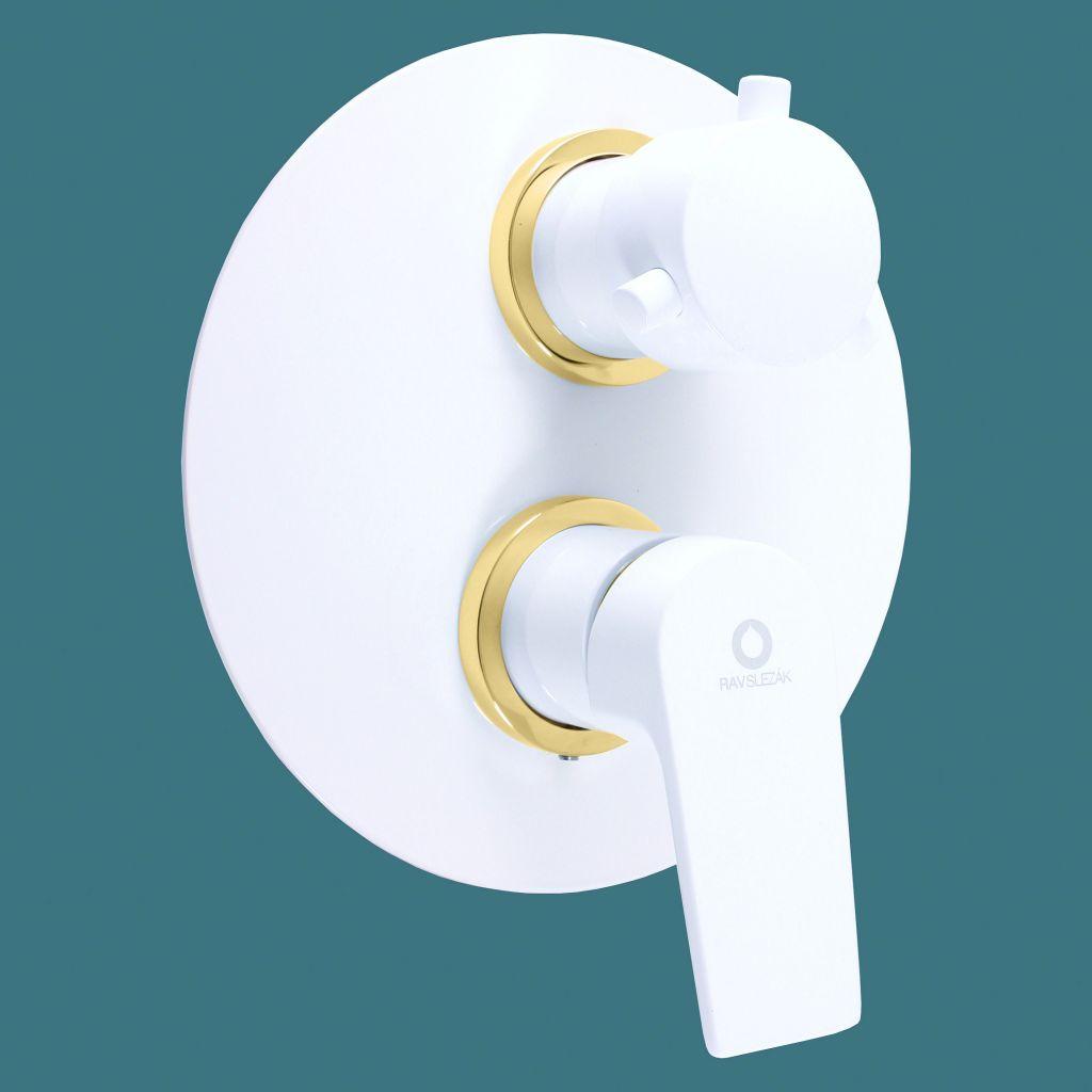 SLEZAK-RAV - Vodovodní baterie sprchová vestavěná COLORADO bílá/zlato, Barva: bílá/zlato (CO186KBZ)
