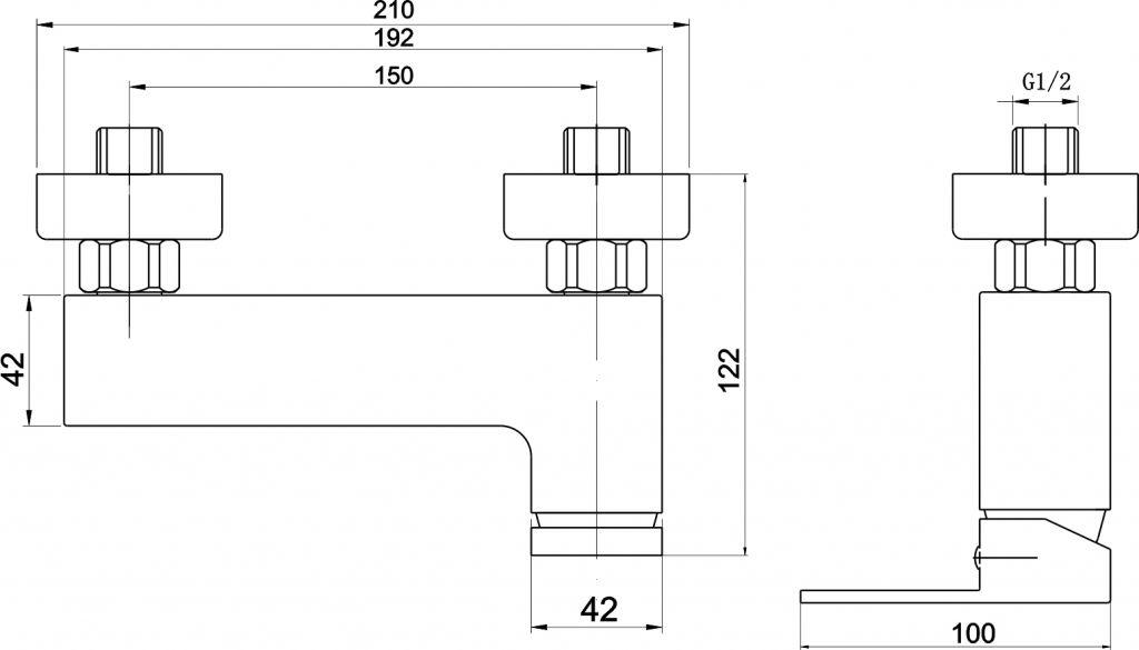 NOVASERVIS - Sprchová baterie bez příslušenství 150 mm EDGE chrom (36061/1,0)
