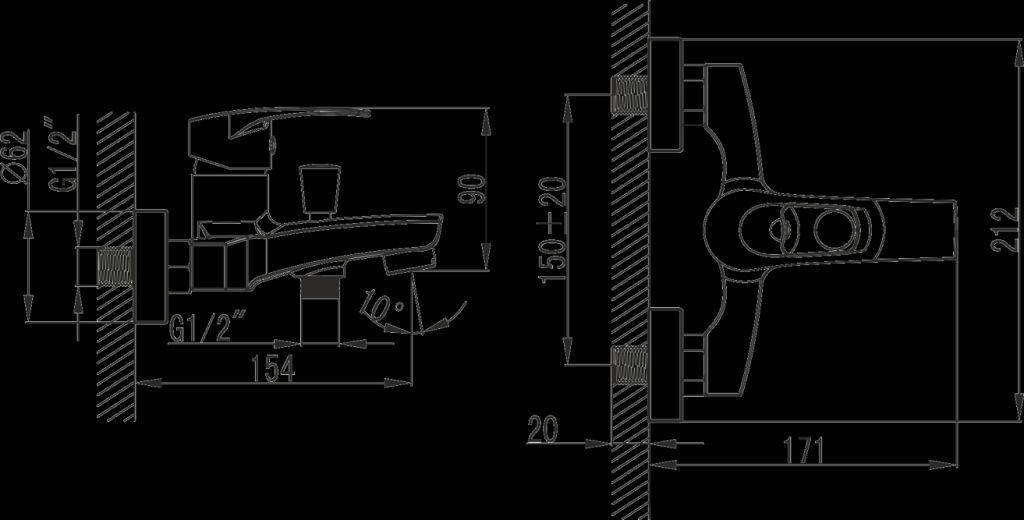 NOVASERVIS - Vanová baterie bez příslušenství 150 mm BRADO chrom (80020/1,0)