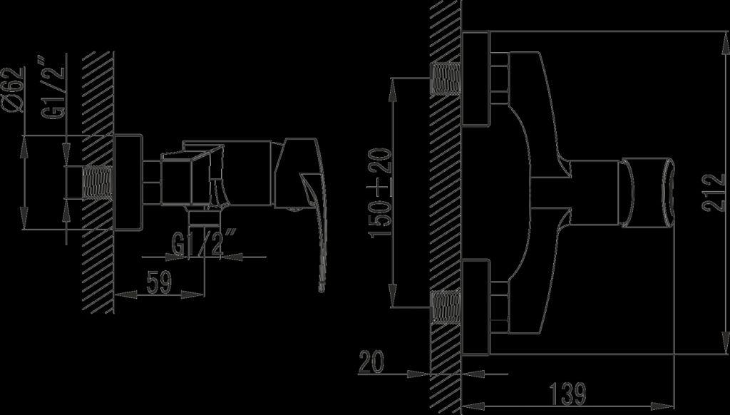 NOVASERVIS - Sprchová baterie bez příslušenství 150 mm BRADO chrom (80061/1,0)