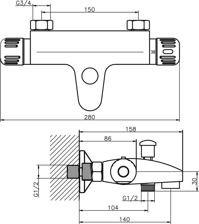 NOVASERVIS - Vanová baterie termostatická bez příslušenství 150 mm (2620/1,0)