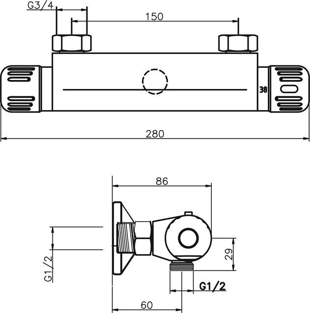 NOVASERVIS - Sprchová termostatická baterie 150 mm Aquamat chrom (2660/1,0)