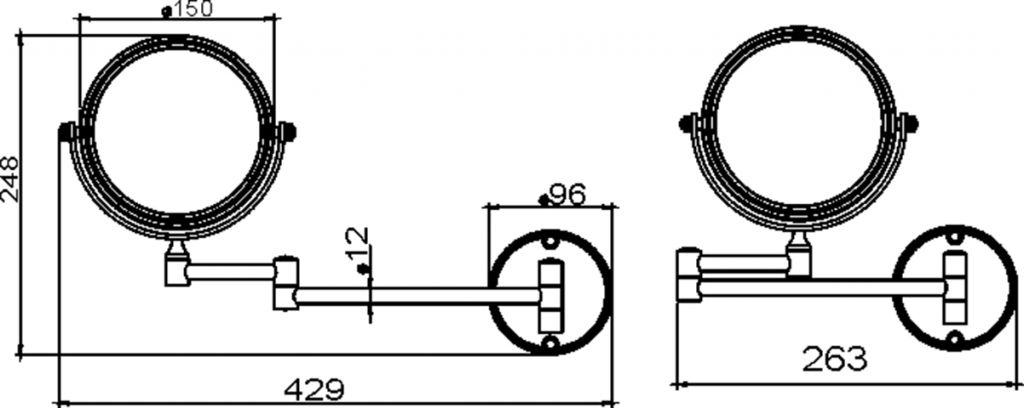 NOVASERVIS - Kosmetické zrcátko zvětšovací otočné chrom (6868,0)