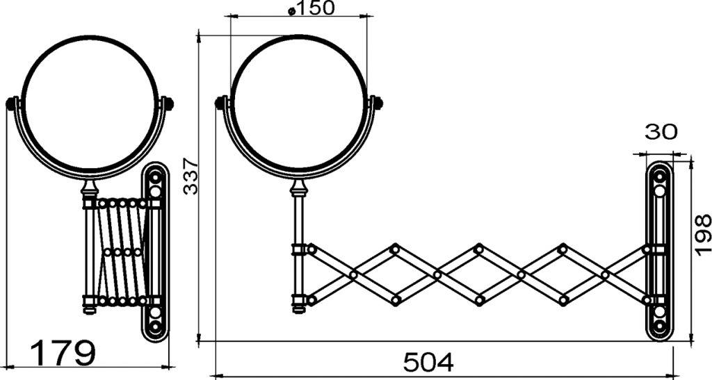 NOVASERVIS - Kosmetické zrcátko zvětšovací vytahovací chrom (6968,0)