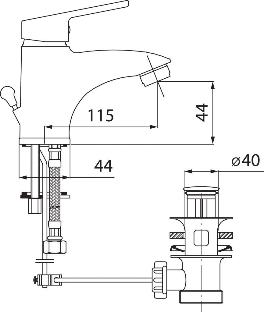 NOVASERVIS - Umyvadlová baterie bez výpusti SMILE chrom (71001/1,0)