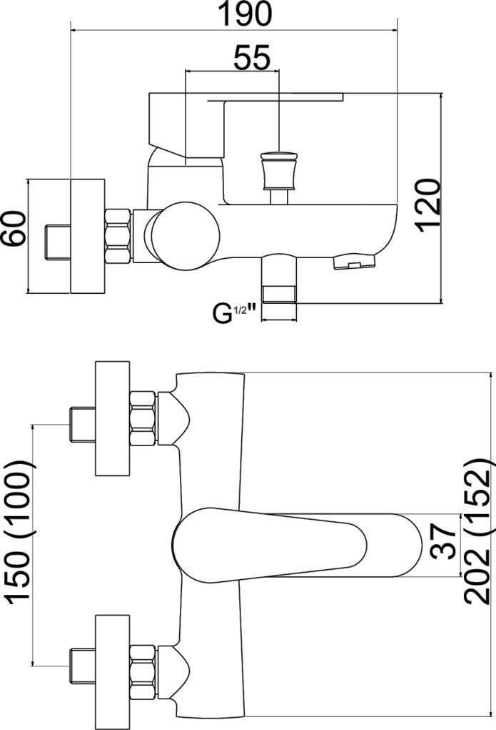 NOVASERVIS - Vanová baterie bez příslušenství 150 mm Titania Fresh chrom (96020/1,0)
