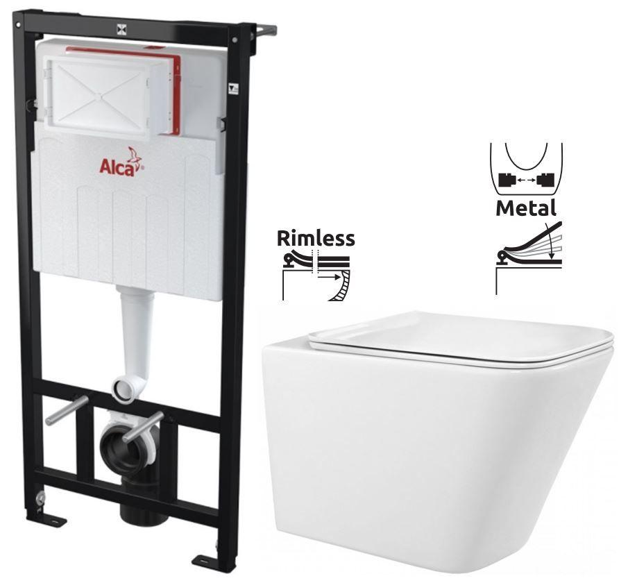 ALCAPLAST Sádromodul předstěnový instalační systém bez tlačítka + WC REA Raul Rimless + SEDÁTKO AM101/1120 X RA1