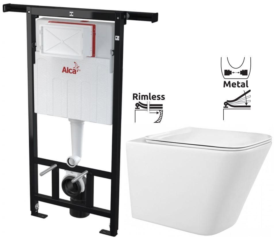 ALCAPLAST Jádromodul předstěnový instalační systém bez tlačítka + WC REA Raul Rimless + SEDÁTKO AM10