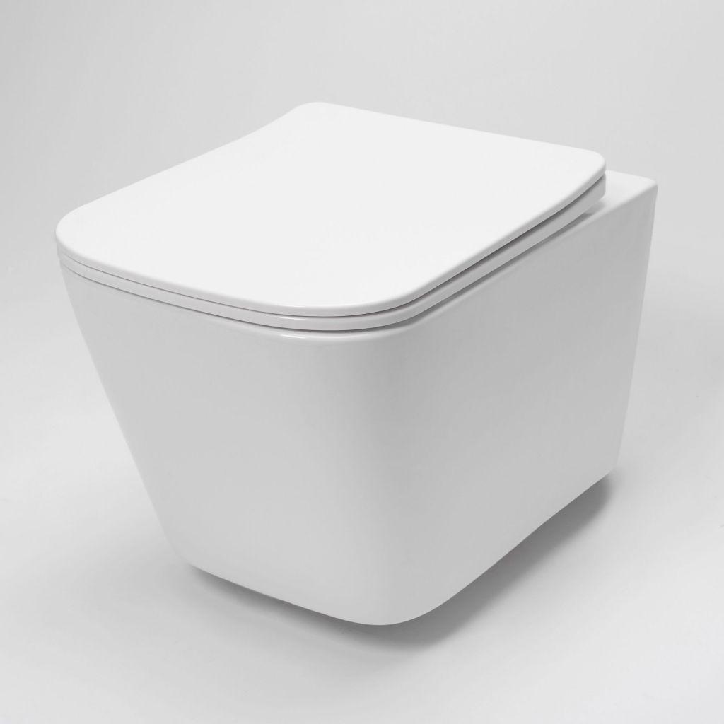 LAUFEN Rámový podomítkový modul CW1 SET s bílým tlačítkem + WC REA  Raul Rimless + SEDÁTKO (H8946600000001BI RA1)