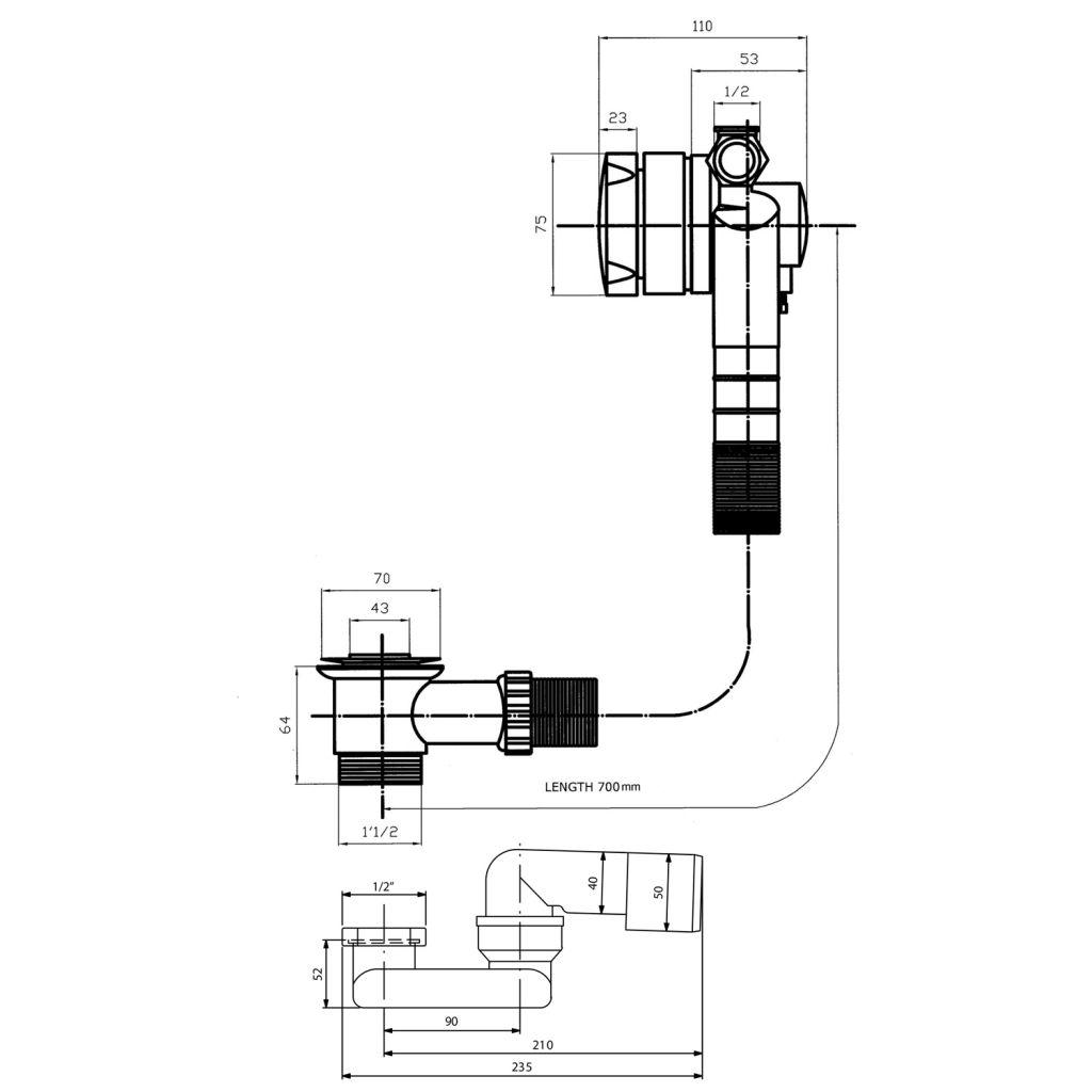Bruckner - Vanová souprava s napouštěním, bovden, délka 700mm, zátka 72mm, chrom (164.270.1)