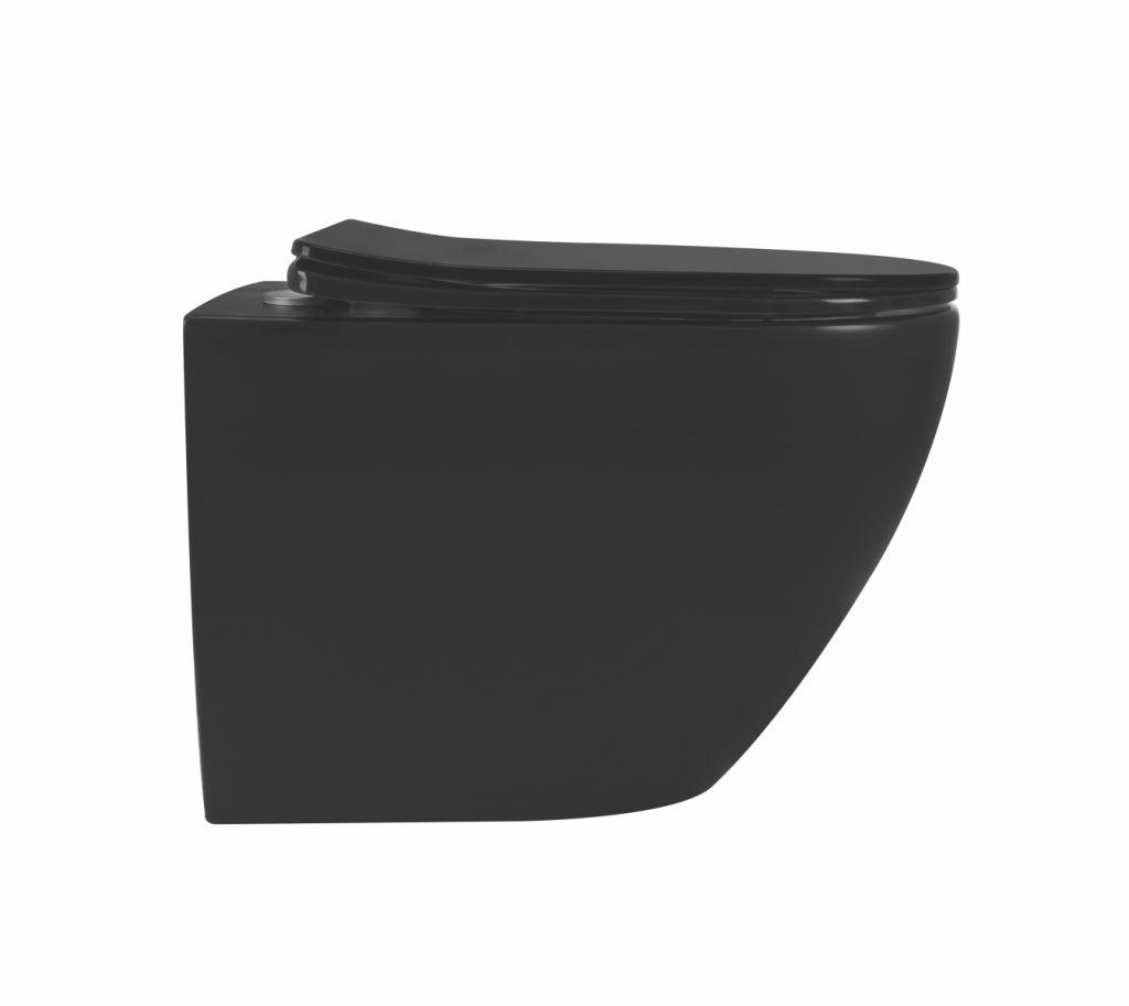 ALCAPLAST  Renovmodul - předstěnový instalační systém s bílým/ chrom tlačítkem M1720-1 + WC REA CARLO MINI RIMLESS ČIERNY MAT + SEDADLO (AM115/1000 M1720-1 MM1)