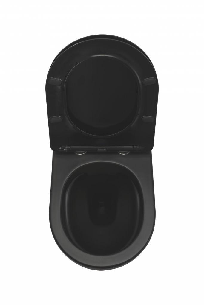 ALCAPLAST  Renovmodul - předstěnový instalační systém bez tlačítka + WC REA CARLO MINI RIMLESS ČIERNY MAT + SEDADLO (AM115/1000 X MM1)