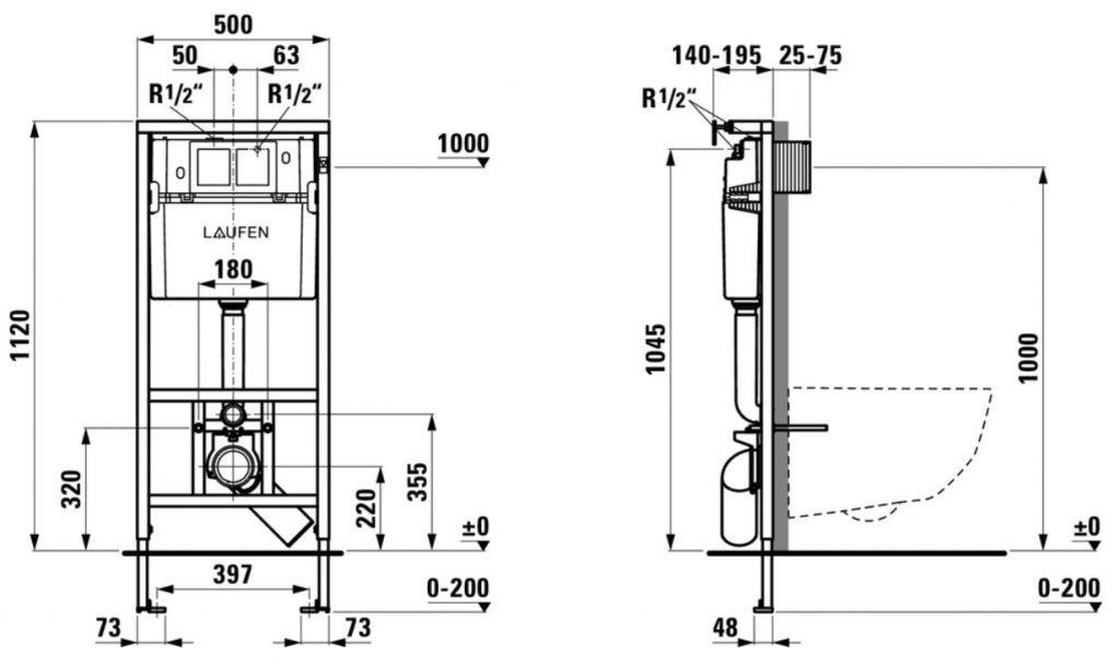 LAUFEN Rámový podomítkový modul CW1 SET s chromovým tlačítkem + WC REA CARLO MINI RIMLESS ČIERNY MAT + SEDADLO (H8946600000001CR MM1)