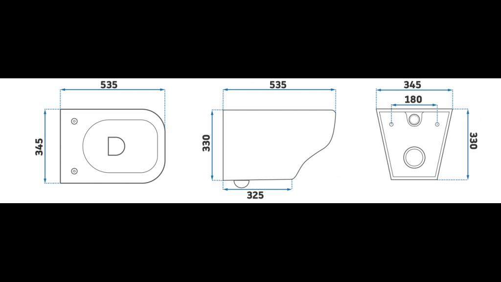 LAUFEN Podomít. systém LIS TW1 SET s chromovým tlačítkem + WC REA Ivo Rimless + SEDÁTKO (H8946630000001CR IV1)