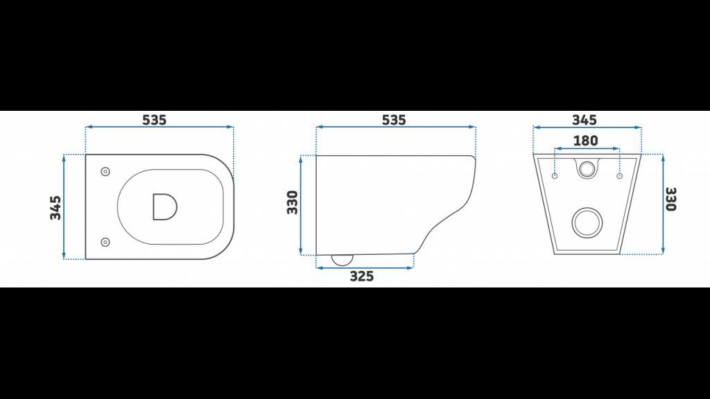 CERSANIT nádržka  AQUA 02 bez tlačítka + WC REA Ivo Rimless + SEDÁTKO (S97-063 IV1)