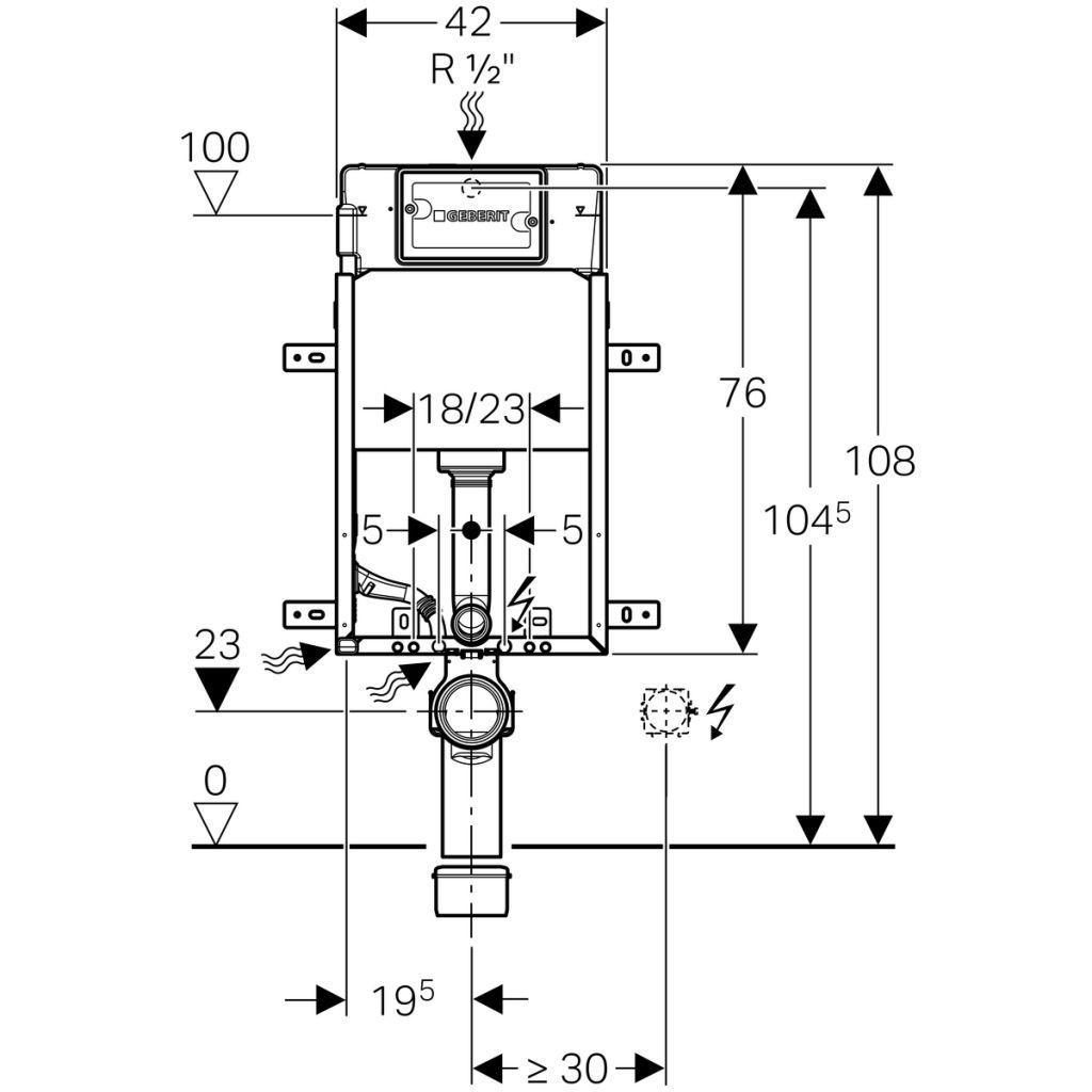 GEBERIT KOMBIFIXBasic vč. chromového tlačítka DELTA 51 + WC REA Carlo Flat Mini Rimless + SEDÁTKO (110.100.00.1 51CR CF1)