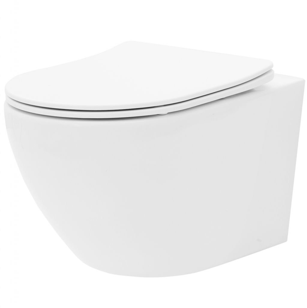 ALCAPLAST  Sádromodul - předstěnový instalační systém s bílým tlačítkem M1710 + WC REA Carlo Flat Mini Rimless + SEDÁTKO (AM101/1120 M1710 CF1)