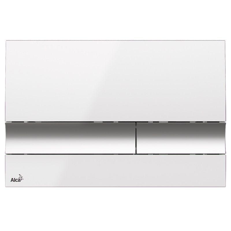 ALCAPLAST  Jádromodul - předstěnový instalační systém s bílým/ chrom tlačítkem M1720-1 + WC REA Carlo Flat Mini Rimless + SEDÁTKO (AM102/1120 M1720-1 CF1)