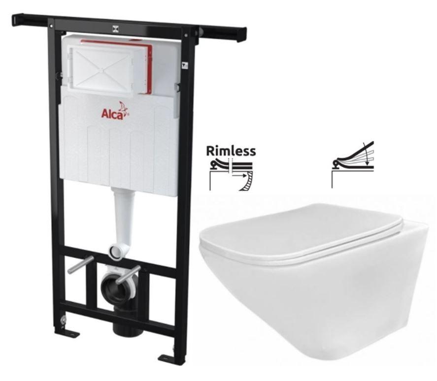 ALCAPLAST Jádromodul předstěnový instalační systém bez tlačítka + WC REA Ivo Rimless + SEDÁTKO AM102/1120 X IV1
