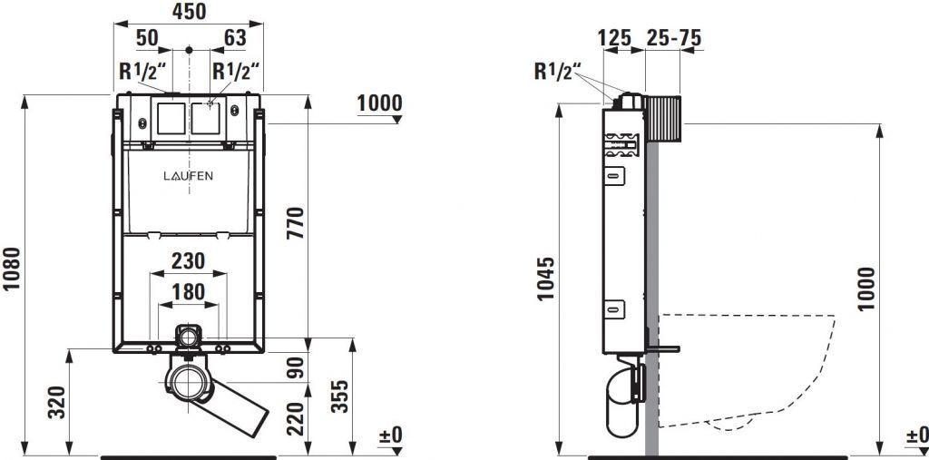 LAUFEN Podomít. systém LIS TW1 SET s chromovým tlačítkem + WC REA Carlo Flat Mini Rimless + SEDÁTKO (H8946630000001CR CF1)