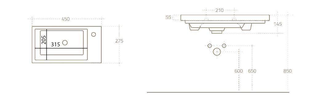 AQUALINE - ZORAN nábytkové umyvadlo 45x27,5 cm (4045)