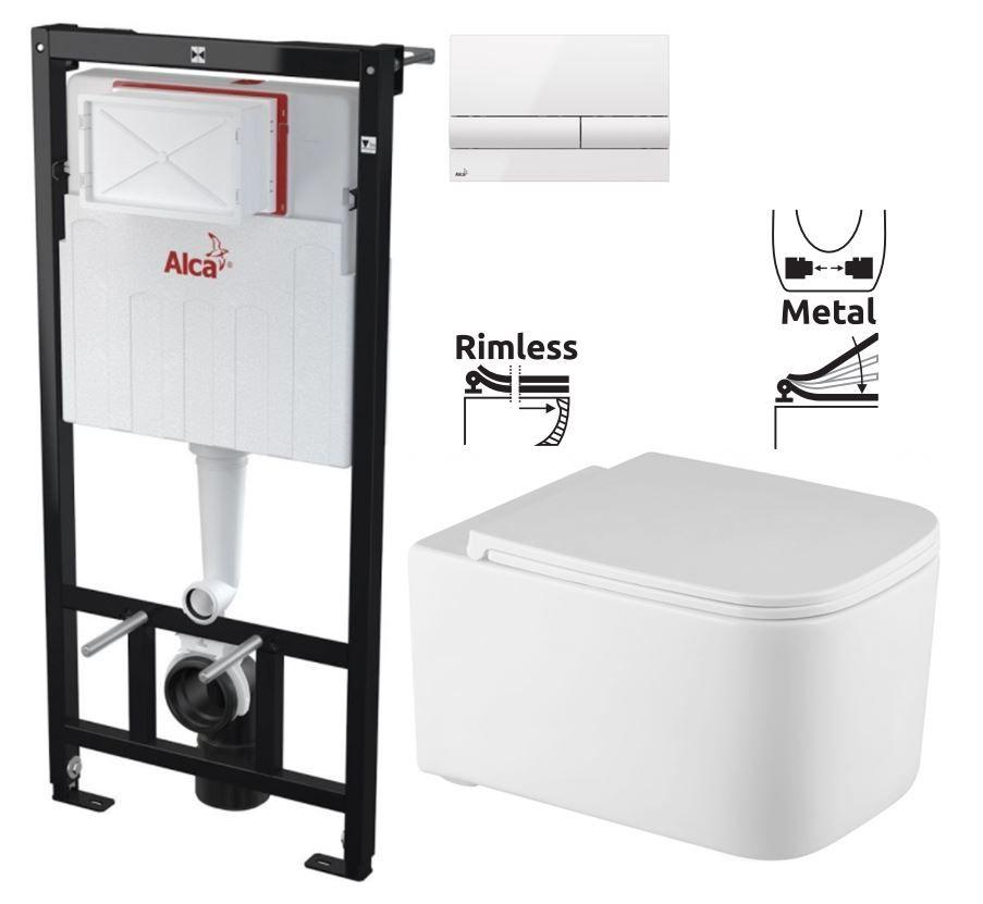 ALCAPLAST Sádromodul předstěnový instalační systém s bílým tlačítkem M1710 + WC REA Tino Rimless + SEDÁTKO AM101/1120 M1710 TR1