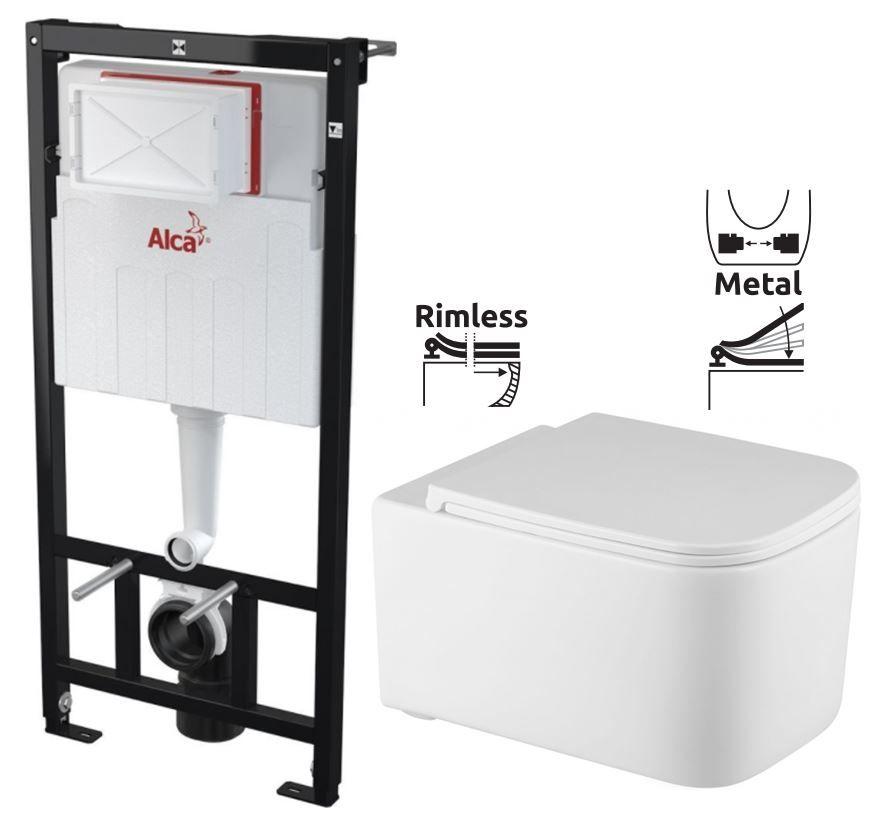 ALCAPLAST Sádromodul předstěnový instalační systém bez tlačítka + WC REA Tino Rimless + SEDÁTKO AM101/1120 X TR1